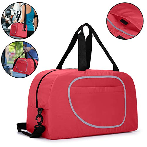 Teamoy Sports Duffle Bag, Foldable Travel Luggage Sports Gym Bag for Women and Men, Red