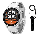Coros PACE 2 Premium GPS Sport Watch White with Silicone Band, Heart Rate Monitor, 30h Full GPS Battery, Barometer, ANT+ & BLE Connections with Wearable4U Power Bank Bundle (White - Silicone Strap)