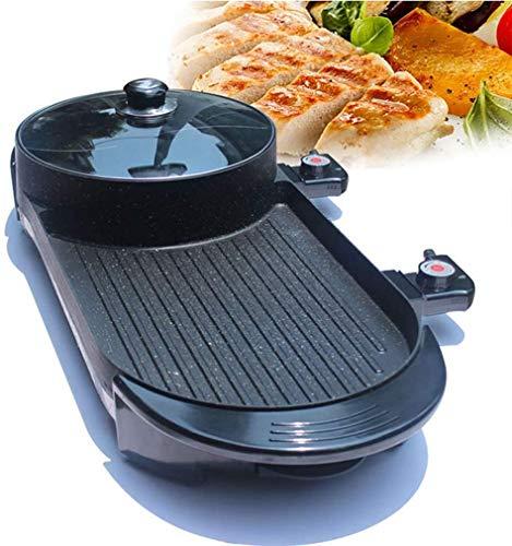 51CX9eAfcyL - KOIUJ Spezialofen 2in1 Hot Pot und Elektrogrill Innen Backen Flach Pan Doppel-Geschmack Hotpot Smokeless Grill Barbecue Wohnung Griddle