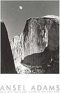 Moon and Half Dome (Embossed) - Poster by Ansel Adams (24 x 36)