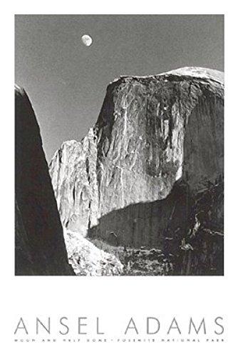 Ansel Adams – Mond und Half Dome (geprägt) Poster Drucken (60,96 x 91,44 cm)