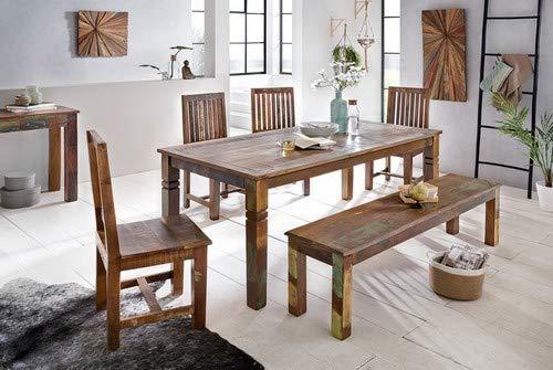 WOHNLING Esszimmertisch Kalkutta 120 x 70 x 76 cm , Massivholz Esstisch für 4-6 Personen , Küchentisch Bootsholz Shabby Chic , Tisch Esszimmer rechteckig