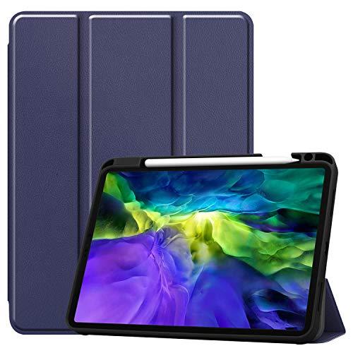 iPad Pro 11 ケース【Trocent】iPad Pro 11 2020 ケース iPad Pro 11 第二世代 スタンド機能付き 三つ折型 Apple Pencil 収納可能 PUレザー 超薄型 オートスリープ機能 内蔵マグネット 内蔵マグネッ