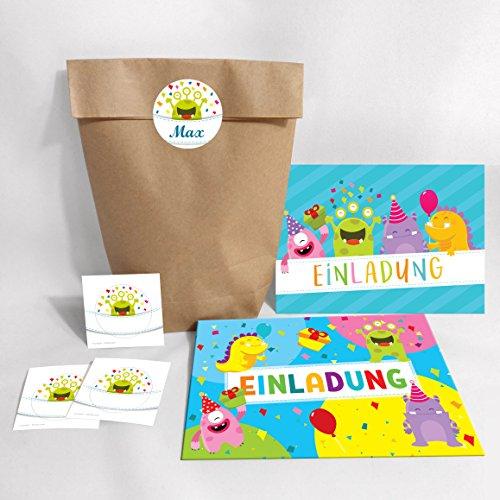 JuNa-Experten 12-er Set Einladungskarten, Umschläge, Geschenktüten, Aufkleber Kindergeburtstag Mädchen Monster Geburtstagseinladungen Einladungen