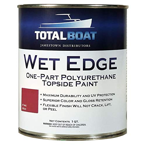TotalBoat Wet Edge Marine Topside Paint for Boats, Fiberglass, and Wood (Fire Red, Quart)