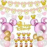 Kreatwow Décorations de fête d'anniversaire Minnie rose et or joyeux anniversaire bannière guirlande gâteau et Cupcake Toppers pour Minnie sur le thème 1er 2e 3e fournitures de fête d'anniversaire