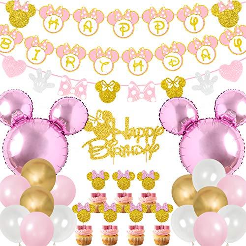 Kreatwow Decoraciones de fiesta de cumpleaños de Minnie rosa y dorada Banner de feliz cumpleaños Guirnaldas de pastel y cupcake para Minnie Themed 1st 2nd 3rd Birthday Party Supplies