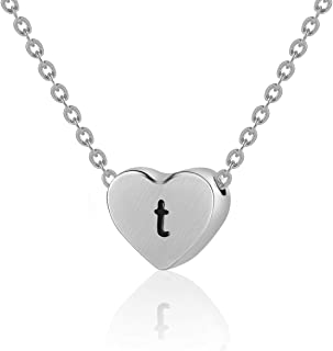 WIGERLON Initial Letter Heart Necklace:Stainless Steel 925 Silver Plated and 14K Gold Plated for Women and Girls from A-Z