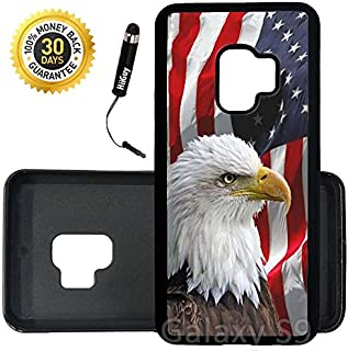 Custom Galaxy S9 Case (Bald Eagle American Flag) Edge-to-Edge Rubber Black Cover Ultra Slim | Lightweight | Includes Stylus Pen by Innosub