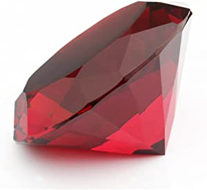 Red Crystal Glass Diamond Shaped Decoration, Big Ruby 60mm Jewel Paperweight (Please identify our brand Yarr Store)