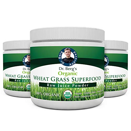 Dr. Berg's Wheat Grass Superfood Powder - Raw Juice Organic Ultra-Concentrated Rich in Vitamins & Nutrients - Chlorophyll & Trace Minerals - 60 Servings - Gluten Free Non GMO - 5.3 oz (3 Pack)