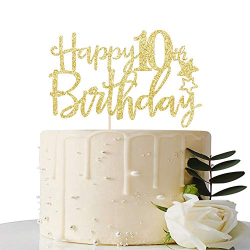 Gold Glitter Happy 10th Birthday Cake Topper,Hello 10, Cheers to 10 Years, 10 & Fabulous Party Decoration