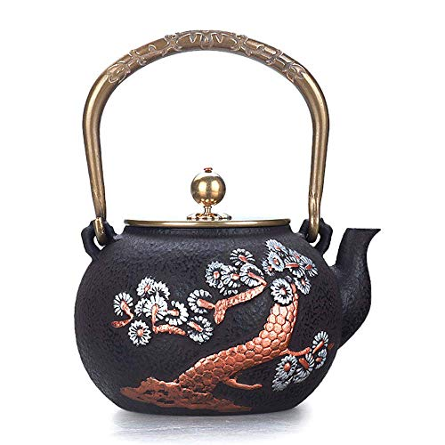 New WXQ-XQ Cast Iron Iron Songhe Double Copper Drawing Iron Pot Copper Handle Copper Cover 1.3L