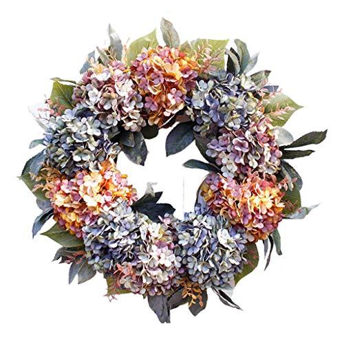 harayaa 22 Inch Wreath Colorful Hydrangea Flower for Front Door Wreath Wall Home Decor