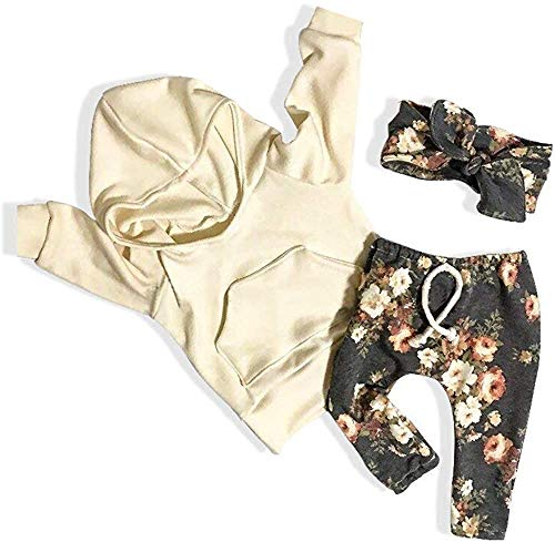 Baby Girl Clothes Long Sleeve Hoodie Sweatshirt Floral Pants with Headband Outfit Sets (Yellow&Floral, 18-24 Months)
