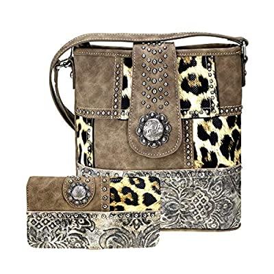 American Bling by Montana West Cross Body Wallet Set Safari Leopard Bling Concealed Carry