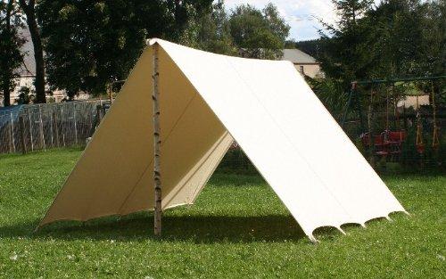 Sonnensegel 2 x 5 m LARP Fly Segel Reenactment Lagerplane Mittelalter Zelt Frame Tent Ritter