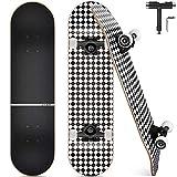 Funxim Skateboard Complet, Planche en Bois d'érable 7 Couches Standard avec des Roulements à Billes ABEC-9, 92A Anti-Dérapant Lisse, Muet Funboard de Roue pour Adolescent, Adulte, Débutant (Losange)