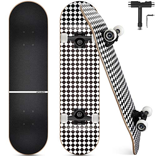 Complete Skateboard, 7-Layer Maple Wood Deck Double Kick Standard Skateboards with All-in-One Skate Tool, for Kids, Teens, Adult, Beginner (31 x 8 Inch)