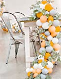 PartyWoo Gray and Orange Balloons, 80 pcs Matte Balloons, Pack of Gray Balloon, Peach Balloons, White Balloons, Orange Balloons for Girls Birthday, Girls Baby Shower, Gray and Peach Wedding