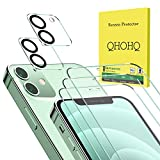 QHOHQ 3 Pack Screen Protector for iPhone 12 [6.1 Inch] with 2 Packs Tempered Glass Camera Lens Protector,Tempered Glass Film, [9H Hardness] - HD - [2.5D Edge] - [Bubble Free] - [Scratch Resistant]