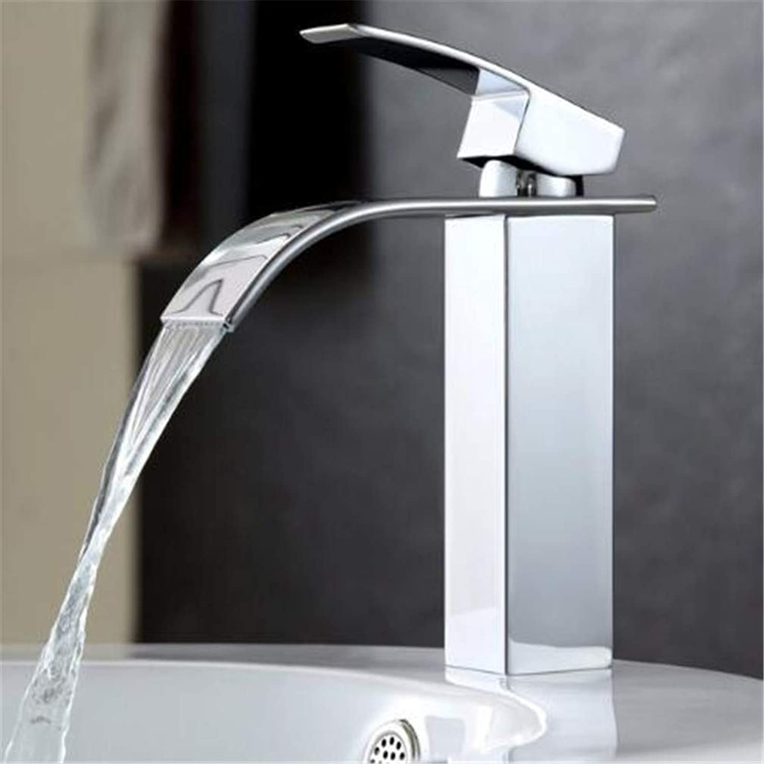 Bathroom Taps Basin Mixer Taps Bathroom Faucet Sinkhot and Cold Water Basin Faucet Mixer Single Handle Single Hole Modern Style Chrome Tap Square Multi-Function