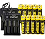 20 PCS of Button Top,Authentic,Yellow,9900mAh 3.7V Li-ion,Rechargeable,Replacement For 18650-Flashlight-Headlights-Battery,With 2 PCS 4 Slots USB Universal Battery Charger,For LED Flashlight Headlight