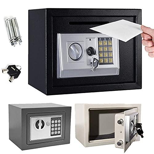 Coffre-fort électronique 4,6 L avec 2 clés pour dortoir, bureau, maison, étanche, 230 x 170 x 170 mm (Noir)