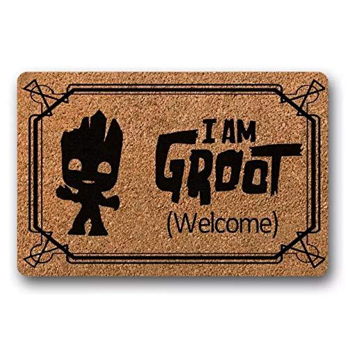 I Am Groot Felpudo - Alfombrilla de Primera Calidad - Alfombrilla de Bienvenida Alfombrilla de Puerta Alfombrilla Decorativa para Interiores y Exteriores Parte Superior de Tela no tejida-20x32 Inch