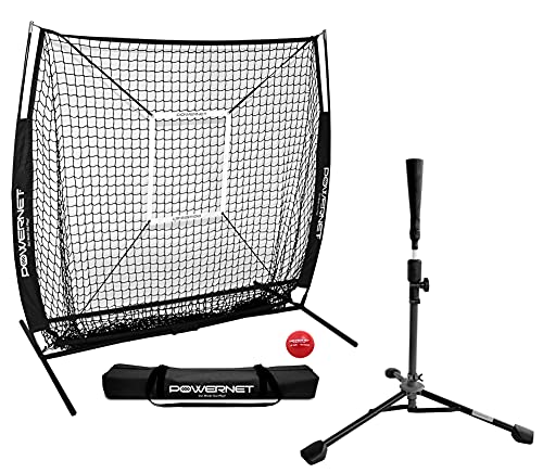 PowerNet 5x5 Practice Net + Deluxe Tee + Strike Zone + Weighted Training Ball Bundle | Baseball Softball Coaching | Work on Pitch Accuracy | Build Confidence at The Plate (Black)