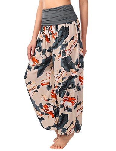 BAISHENGGT Women's Print Elastic Waist Harem Pants