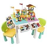 AMOSTING Kinder Tisch Stuhl Set 7-in-1 Spieltisch Kinder 230 Teile Bausteine Kindersitzgruppe Höhenverstellbar, Baustein Tisch zum Spielen, Essen, Lernen, Lagern, Sand Machen - Bunte Hausbausteine