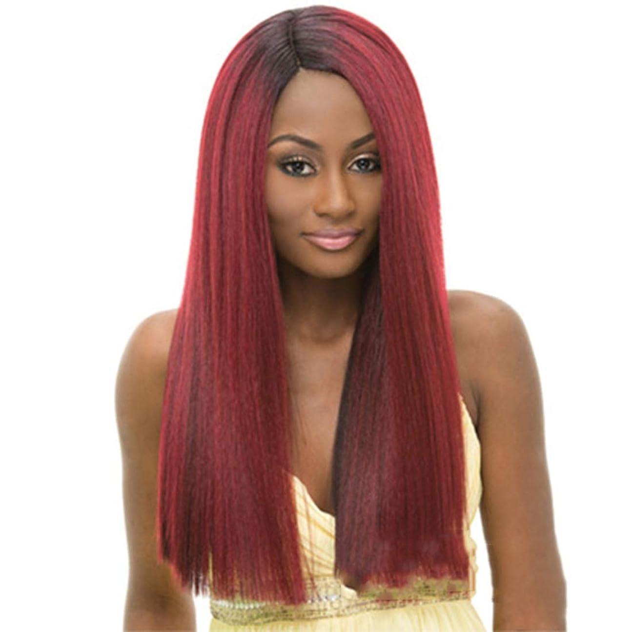 息苦しい最も遠いシェードBOBIDYEE 女性のためのロングヘアウィッグパーティードレスアップウェディング仮装ナイトクラブの小道具コンポジットヘアレースウィッグロールプレイングかつら (色 : Straight hair oblique bangs)