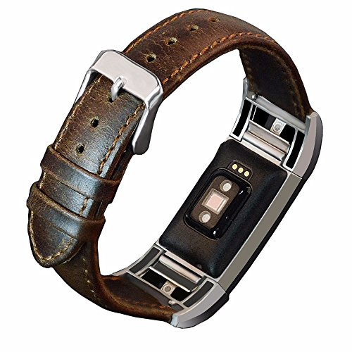 Dahase Compatible for Fitbit Charge 2 Watch Band, Cowhide Retro Replacement Bracelet Wristband Wrist Real Leather Strap Vintage Genuine Leather Band for Fitbit Charge 2 Smart Watch Coffee
