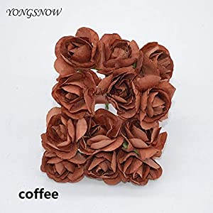 Silk Flower Arrangements ShineBear 144Pcs 3cm Artificial Rose Flower Azalea Flower Wedding Bouquet Fake Paper Rose Flowers Party Decoration Scrapbooking Wreath 8Z - (Color: Coffee)
