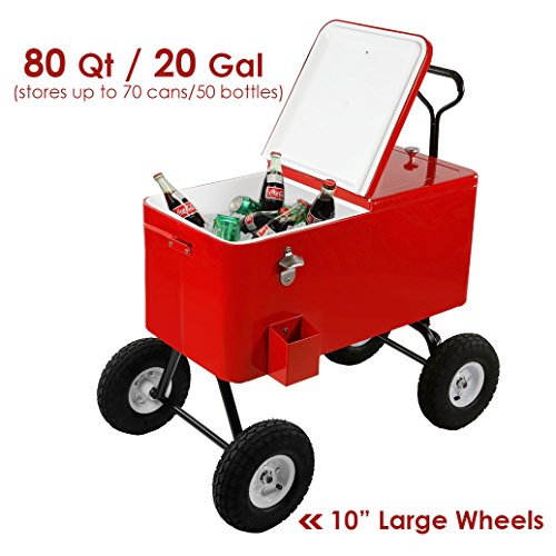 Clevr 80 Quart Wagon Cooler Rolling Party Ice Chest, Red, w/ Long Handle and 10' Large All Terrain Wheels, 80 Qt Beach Patio Pool Party Bar Cold Drink Beverage Chest, Outdoor Park Cart on Wheels