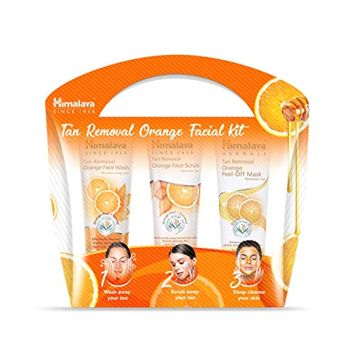 Himalaya Tan Removal Orange Facial Kit (Tan Removal Orange Peel-Off Mask, Face Scrub, Face Wash), 150 ml (Pack of 3)