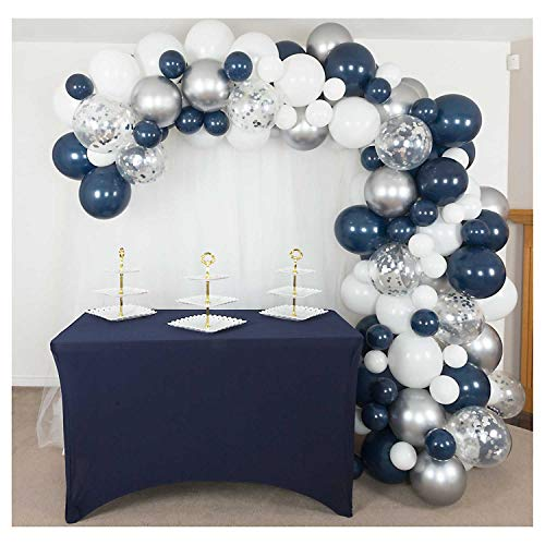 Shimmer and Confetti 162 Pack 16 foot Premium Navy Blue, Silver, White Balloon Arch and Garland Kit with Chrome Silver, Confetti, Tape, Glue Dots, Fishing Line, Tying Tool