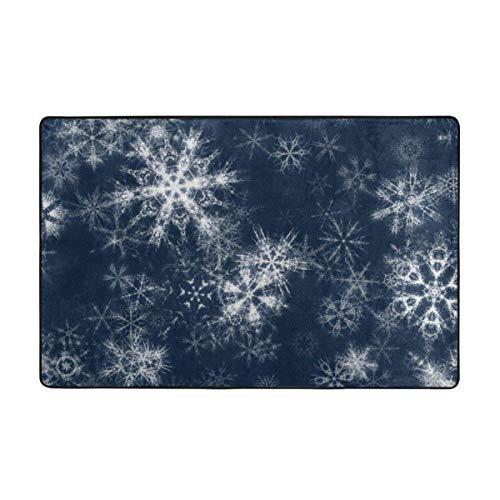 Alfombras de área, alfombras Antideslizantes de Copo de Nieve para decoración del hogar, Alfombrilla de 60 x 39 Pulgadas para Sala de Estar, Sala de Juegos