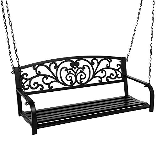 Best Choice Products 2-Person Metal Outdoor Porch Swing, Hanging Steel Patio Bench for Garden Deck w/Floral Accent, 485lb Weight Capacity - Black