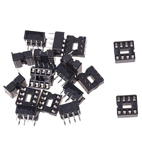Gfhrisyty 20 x 8 Pin 2.54mm echada IC Sockets Tipo de soldadura Adaptador
