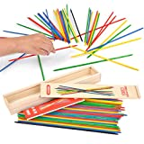 Lucky Shop1234 Classic Wooden Thin Pick Up Stick Game 41 Pieces Fun Family Game Gift Idea --9.8 Inch Long (1 Pack)