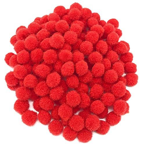 Wedding Touches Mini-Pompons, klein, flauschig, handgefertigte Dekorationen, 10 mm, rot, Textil, rot, 10 mm