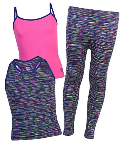 Body Glove Girls 3-Piece Athletic Tank Tops and Leggings Set, Royal, Size 10/12'