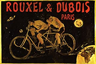 ROUXEL AND DUBOIS PARIS TWO PEOPLE BICYCLE MEN RIDING BIKE FAST TO SPACE EARTH MOON STARS PLANETS CYCLING 16