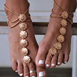Edary Gypsy Layered Anklet Flower Coin Foot Jewelry Retro Gold Anklet Bracelet Beach Barefoot Sandals with Coin Toe Ring for Women(2pcs)