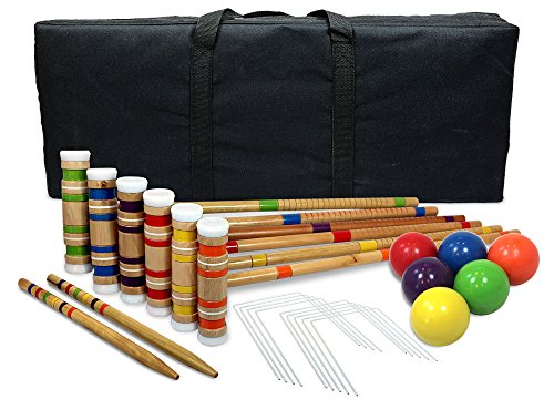 Driveway Games Portable Croquet Set.Wood Mallets, Balls, & Bag. Outdoor Backyard Lawn Croquette Game for Kids & Adults