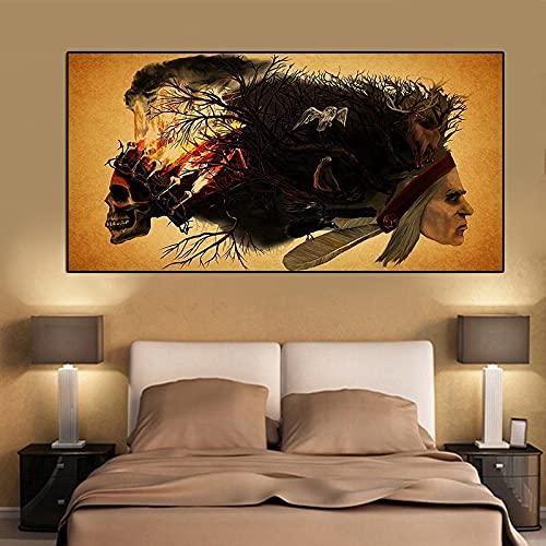 ZWWGZRSH Pas de Cadre Crâne Amérindien Peinture Abstraite Loup Hibou Cerf Affiches et Gravures Toile Art Salon Mur Photos40x60cm