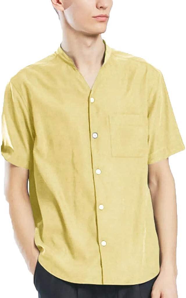IHGTZS Shirts for Men, Men's New Summer Casual Short-Sleeved Shirt Fashion Cotton Linen Blouse Top