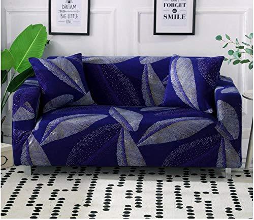 Funda de sofá 1 2 3 4 plazas Universal elástico cuatro estaciones Cubierta Antideslizante en Tejido elástico Extensible Protector de sofá Para sala de estar dormitorio azul marino 3 plazas:190-230 cm